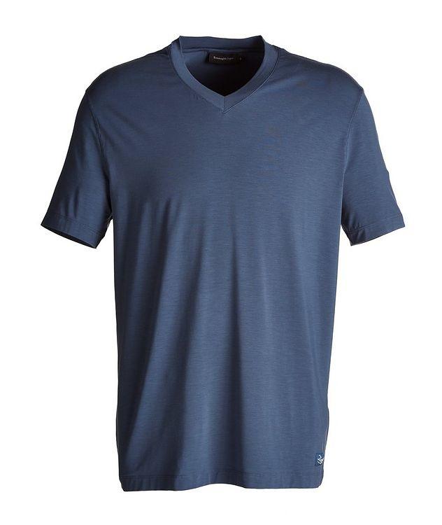 Short-Sleeve Stretch-Modal V-Neck Pyjamas picture 1