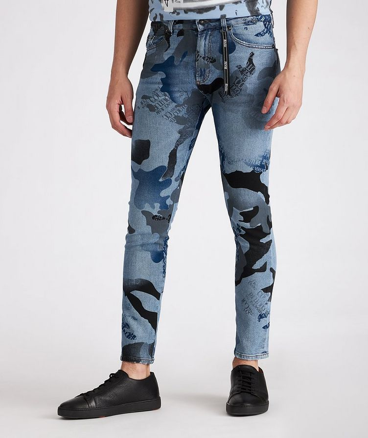 Slim-Fit Camouflage Stretch-Cotton Jeans image 1