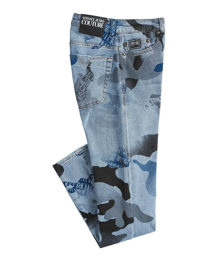 Slim-Fit Camouflage Stretch-Cotton Jeans image 0