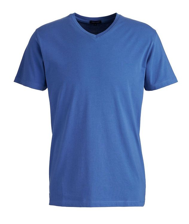 T-shirt en coton pima extensible à encolure en V picture 1