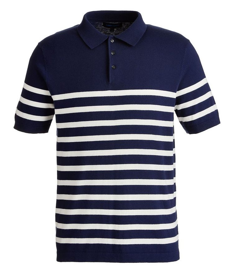 Striped Cotton and Cashmere-Blend Knit Polo image 0
