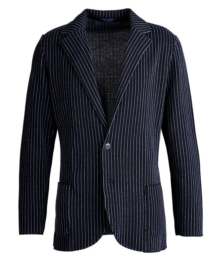 Unstructured Pinstriped Linen-Cotton Sports Jacket image 0