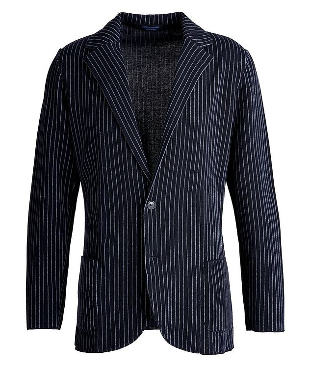 Unstructured Pinstriped Linen-Cotton Sports Jacket picture 1