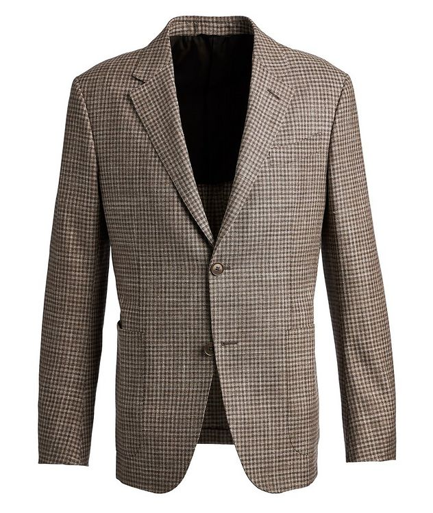 Gingham Wool, Silk, and Linen Sports Jacket picture 1