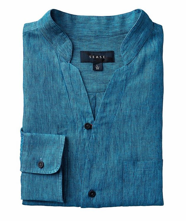 Fish Tail Long-Sleeve Linen Shirt picture 1