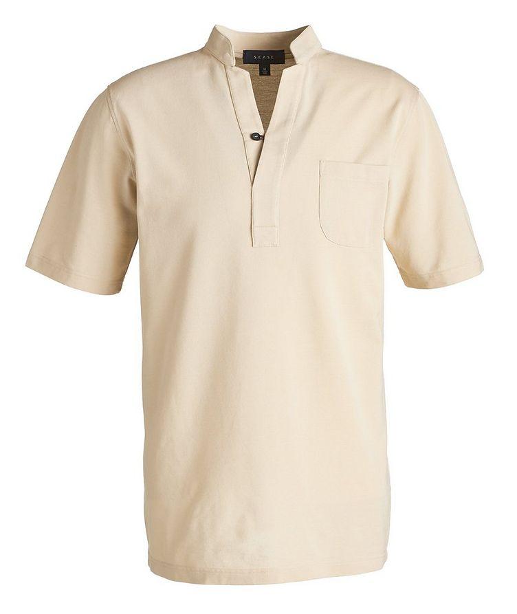 V-Neck Cotton Piqué Henley image 0
