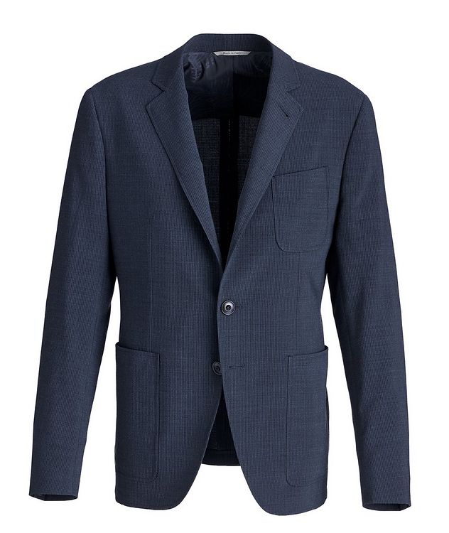 Striped Stretch-Wool-Blend Sports Jacket picture 1