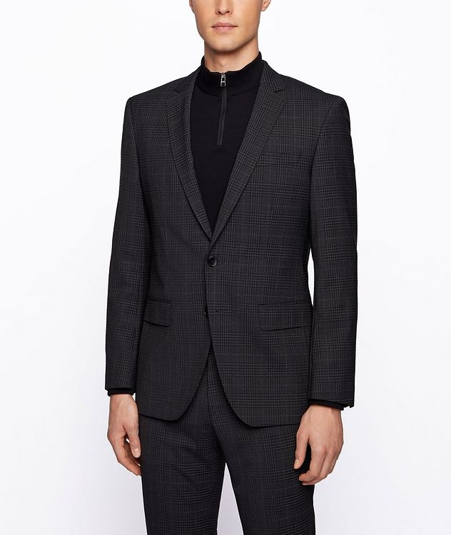 Slim-Fit Micro-Checked Stretch-Wool Sports Jacket picture 2