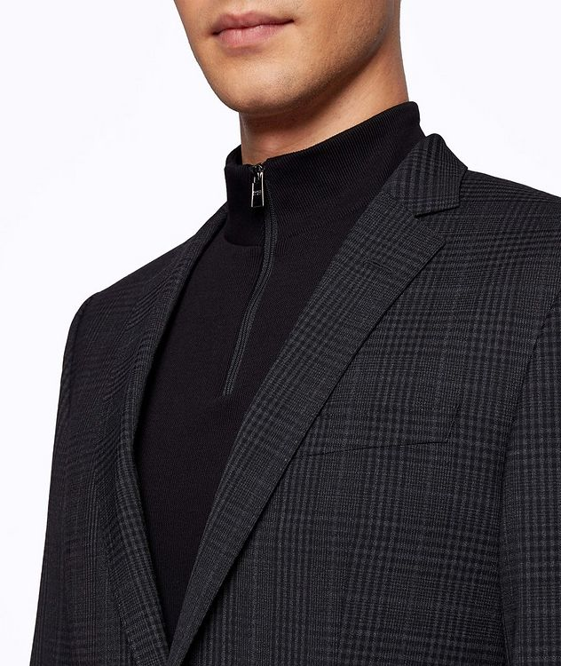 Slim-Fit Micro-Checked Stretch-Wool Sports Jacket picture 5