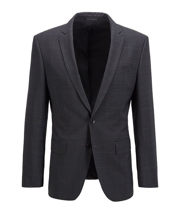 Slim-Fit Micro-Checked Stretch-Wool Sports Jacket picture 1
