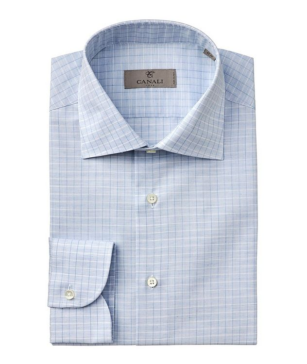 Slim-Fit Checked Cotton Dress Shirt picture 1