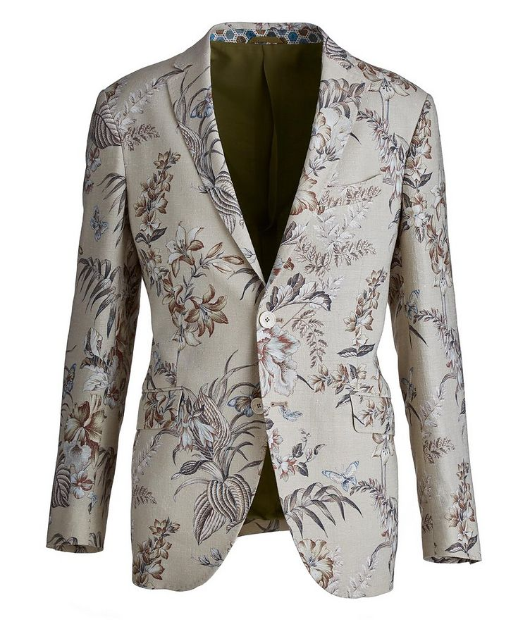 Botanical Linen, Silk, and Cotton Sports Jacket image 0