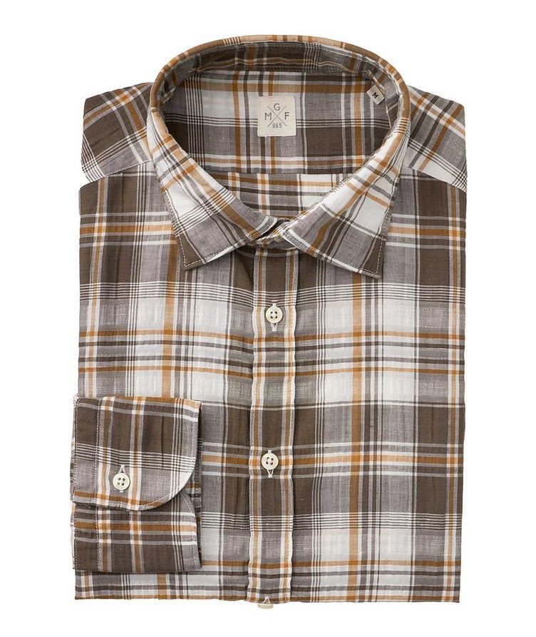 Plaid Stretch Linen-Cotton Shirt image 0