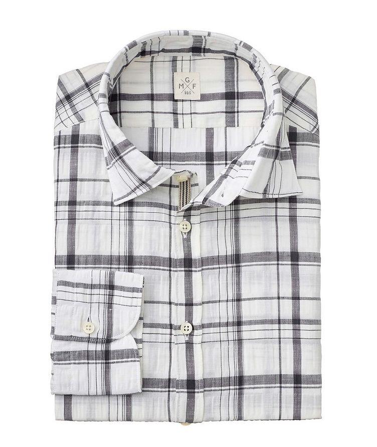 Plaid Stretch Linen-Cotton Shirt image 1