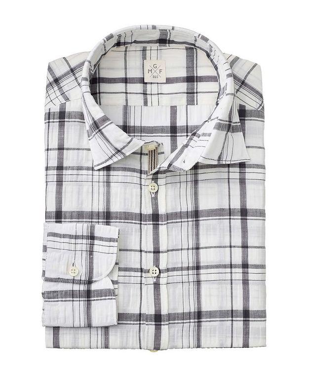 Plaid Stretch Linen-Cotton Shirt picture 2