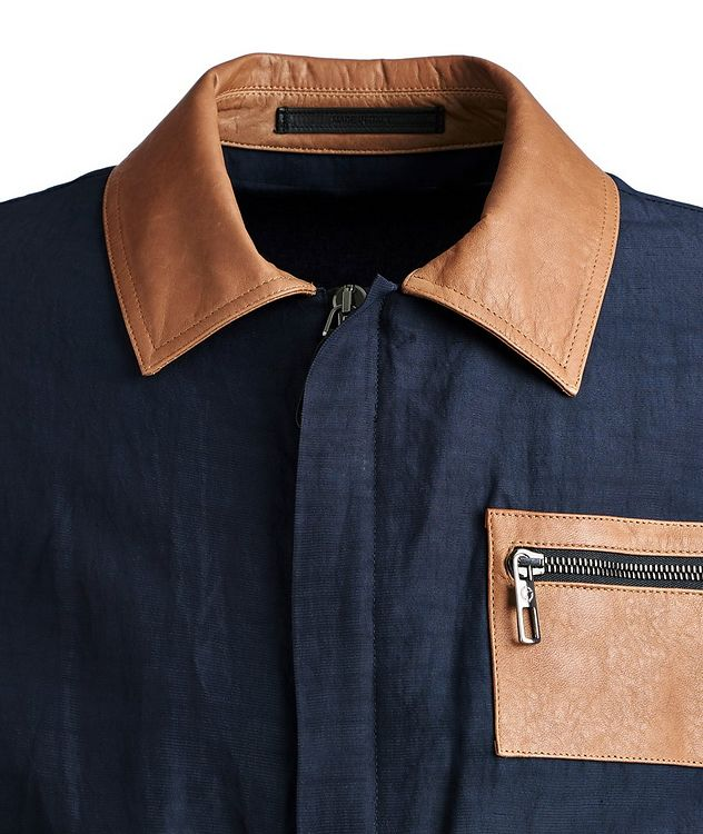 Leather and Linen-Blend Jacket picture 3