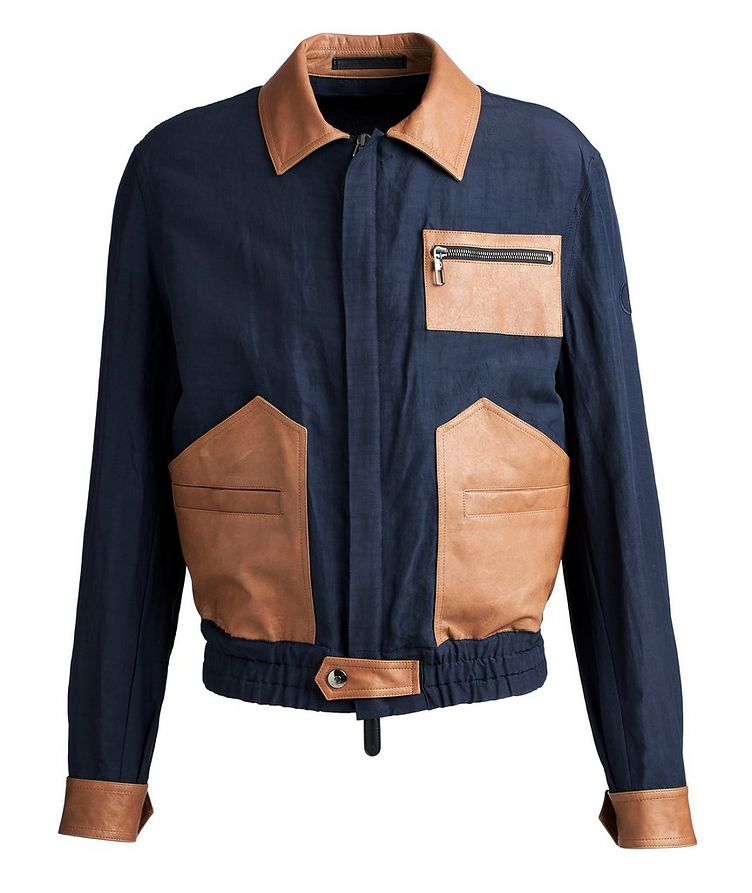 Leather and Linen-Blend Jacket image 0