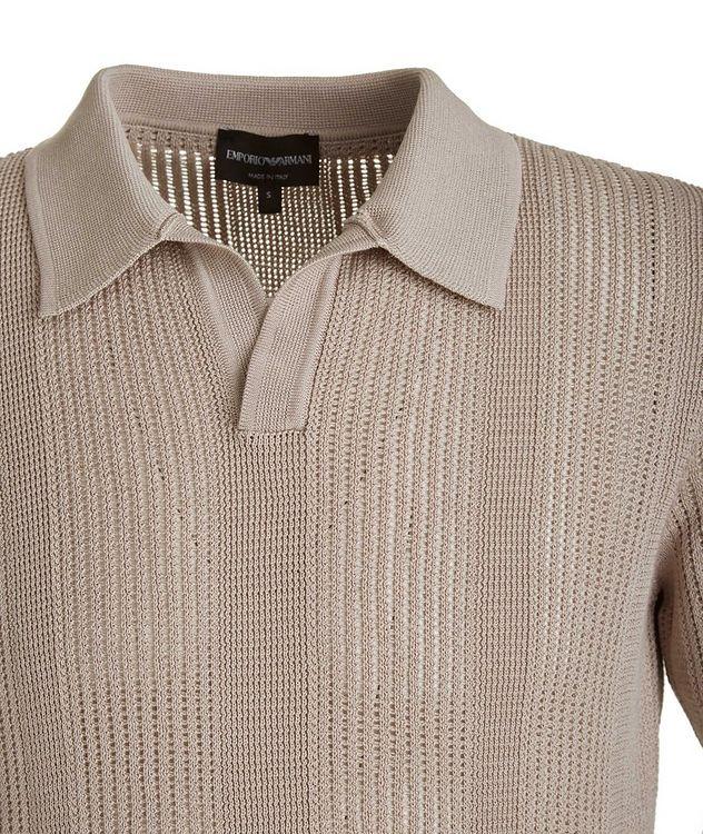 Slim-Fit Openwork-Knit Cotton Polo picture 2