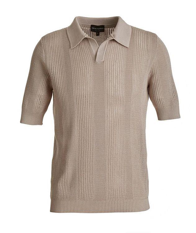Slim-Fit Openwork-Knit Cotton Polo picture 1