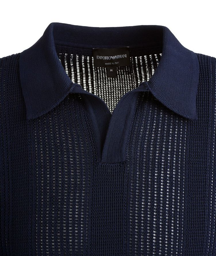 Slim-Fit Openwork-Knit Cotton Polo image 1
