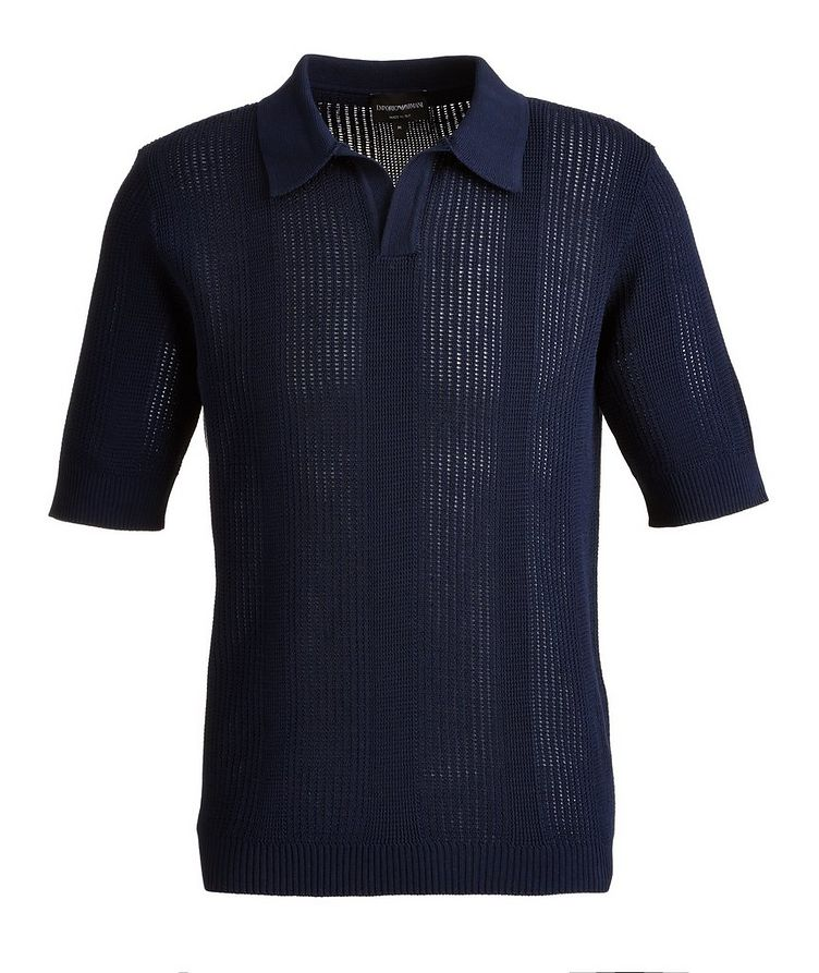 Slim-Fit Openwork-Knit Cotton Polo image 0