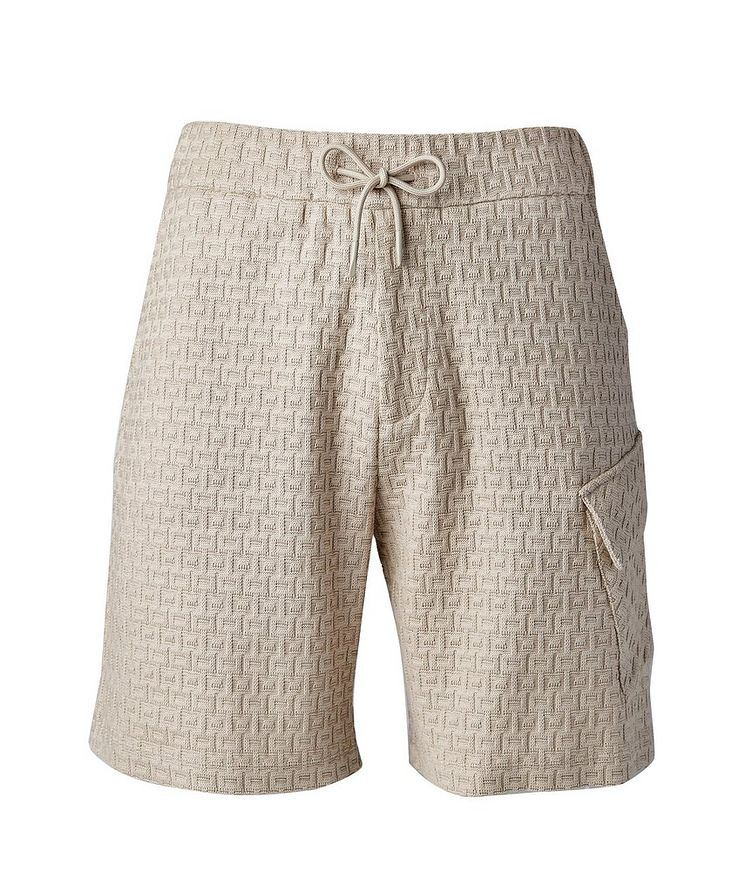 Textured Knit Cotton Shorts image 0