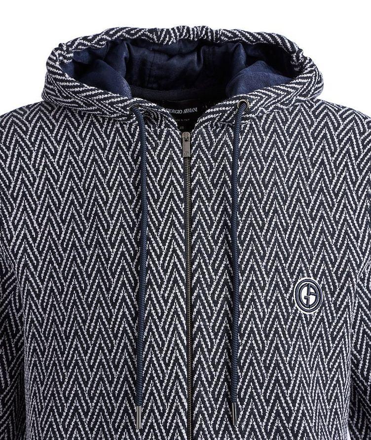 Zip-Up Herringbone Wool-Jacquard Hoodie image 2