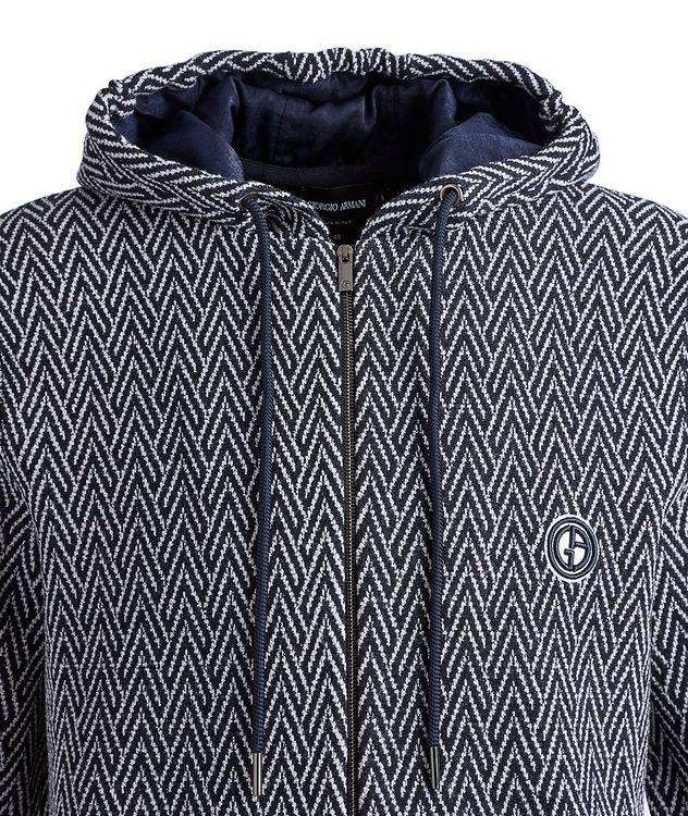 Zip-Up Herringbone Wool-Jacquard Hoodie picture 3