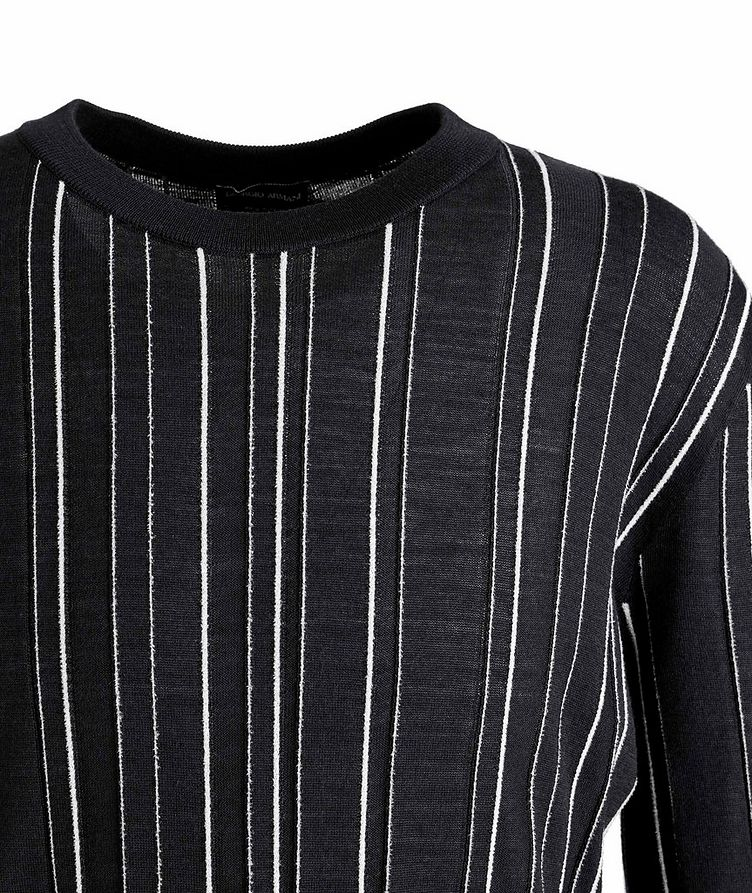 Textured-Stripe Wool-Silk Sweater image 1