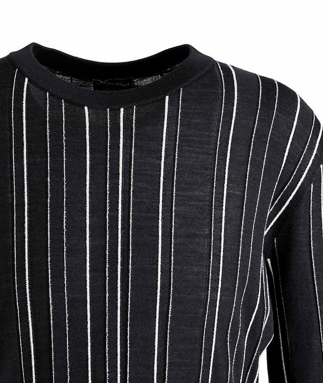 Textured-Stripe Wool-Silk Sweater picture 2
