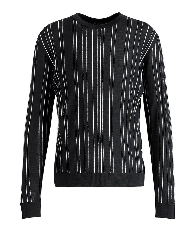 Textured-Stripe Wool-Silk Sweater image 0