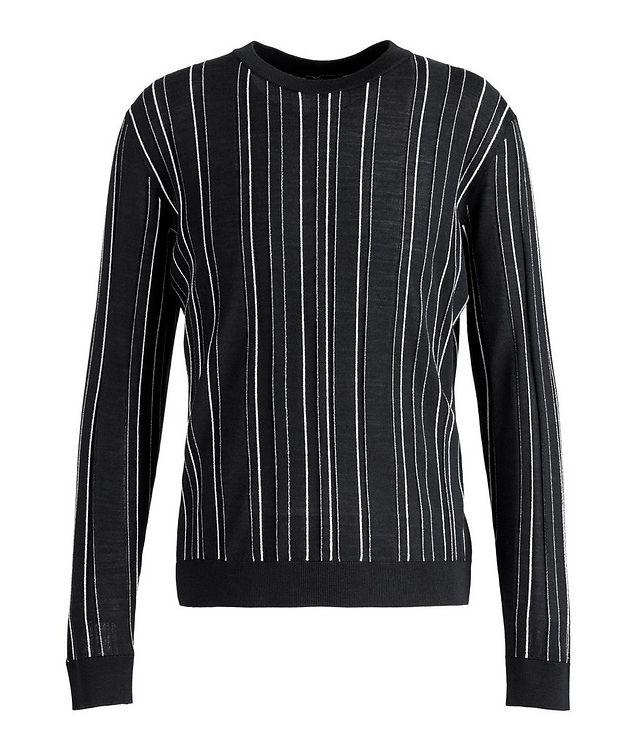 Textured-Stripe Wool-Silk Sweater picture 1