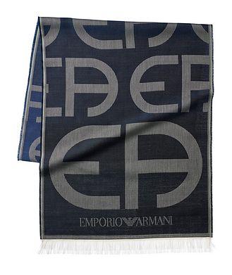 Emporio Armani Écharpe en soie avec logos