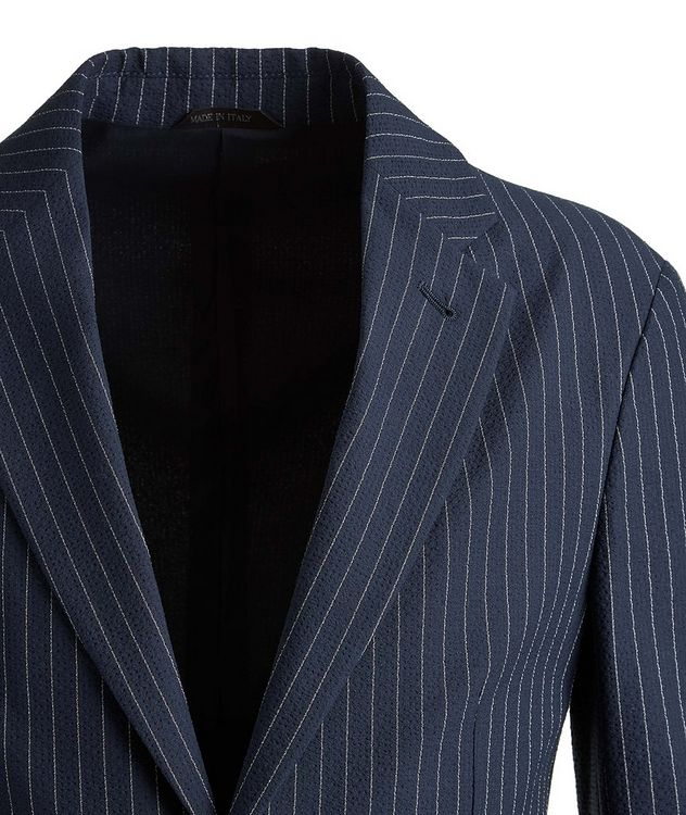 Slim-Fit Pinstriped Seersucker Sports Jacket picture 3