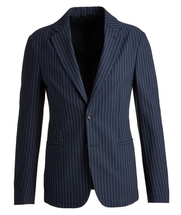 Slim-Fit Pinstriped Seersucker Sports Jacket image 0