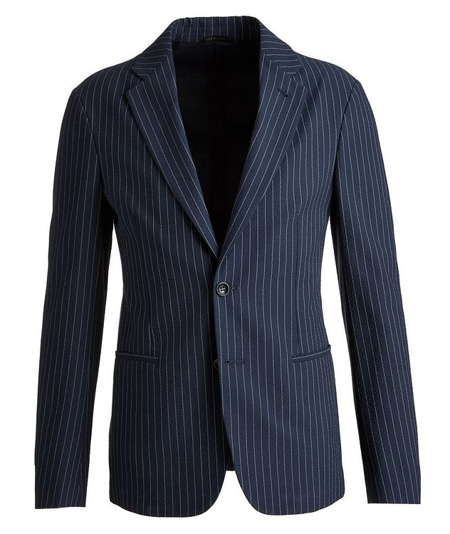 Slim-Fit Pinstriped Seersucker Sports Jacket picture 1