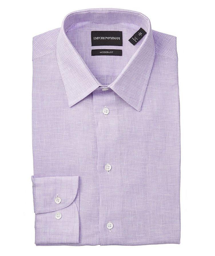 Slim-Fit Gingham Linen Shirt image 0