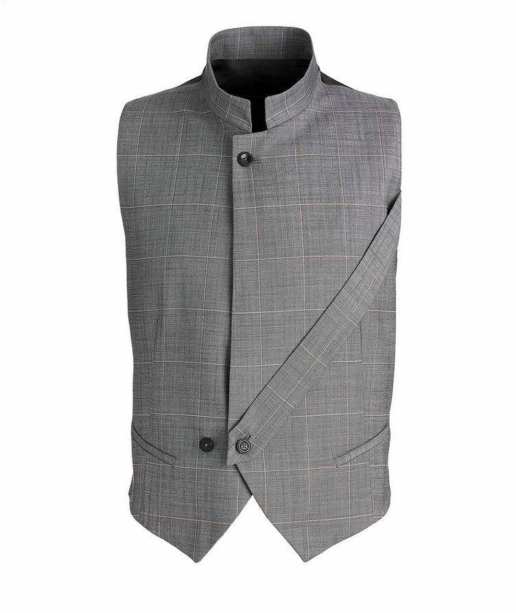 Slim Fit Windowpane Wool Vest image 0