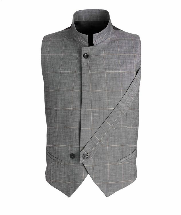 Slim Fit Windowpane Wool Vest picture 1