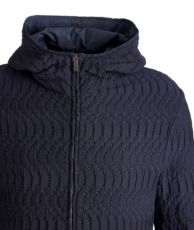 Viscose-Blend Jacquard Hooded Bomber picture 2