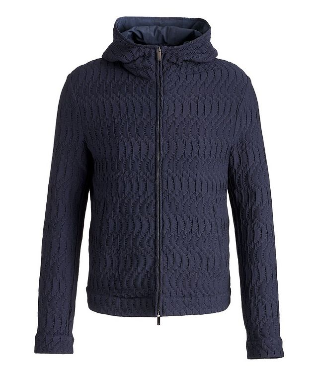Viscose-Blend Jacquard Hooded Bomber picture 1