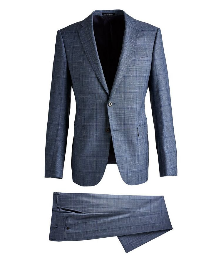 M-Line Contemporary Fit Checked Wool Suit image 0
