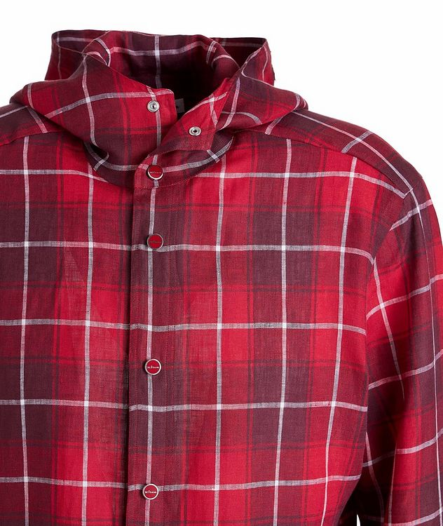 Mariano Plaid Linen Hooded Shirt picture 3