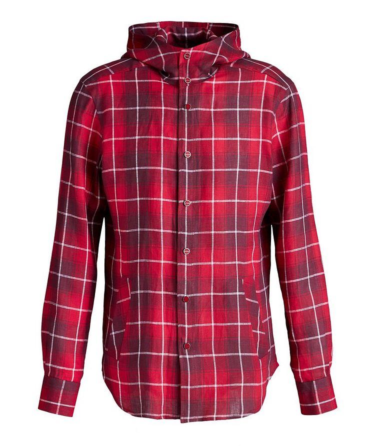 Mariano Plaid Linen Hooded Shirt image 0