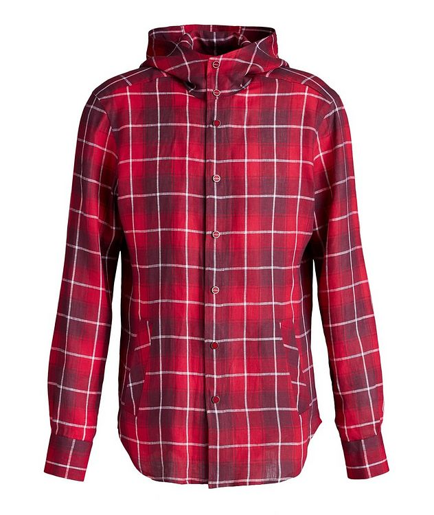 Mariano Plaid Linen Hooded Shirt picture 1