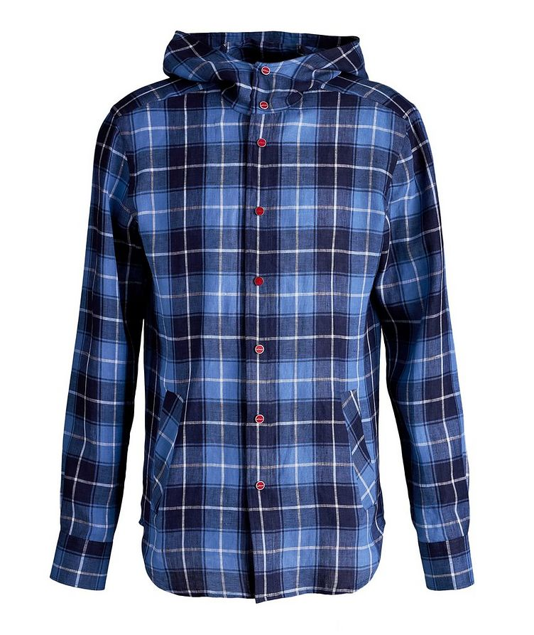Mariano Plaid Linen Hooded Shirt image 0