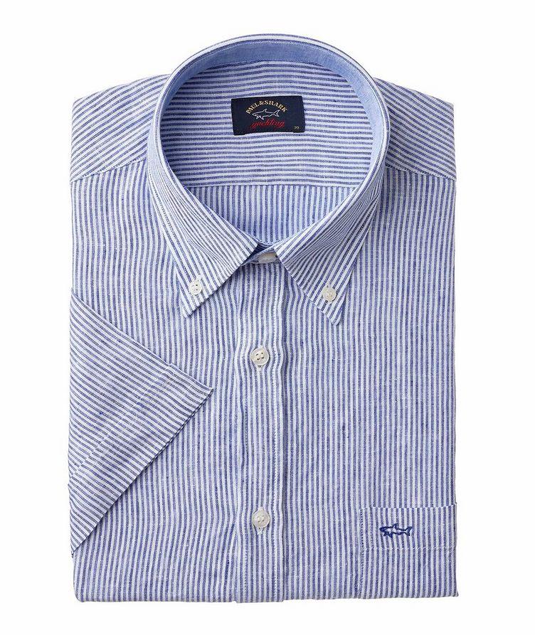 Chemise décontractée en lin à rayures et à manches courtes image 0