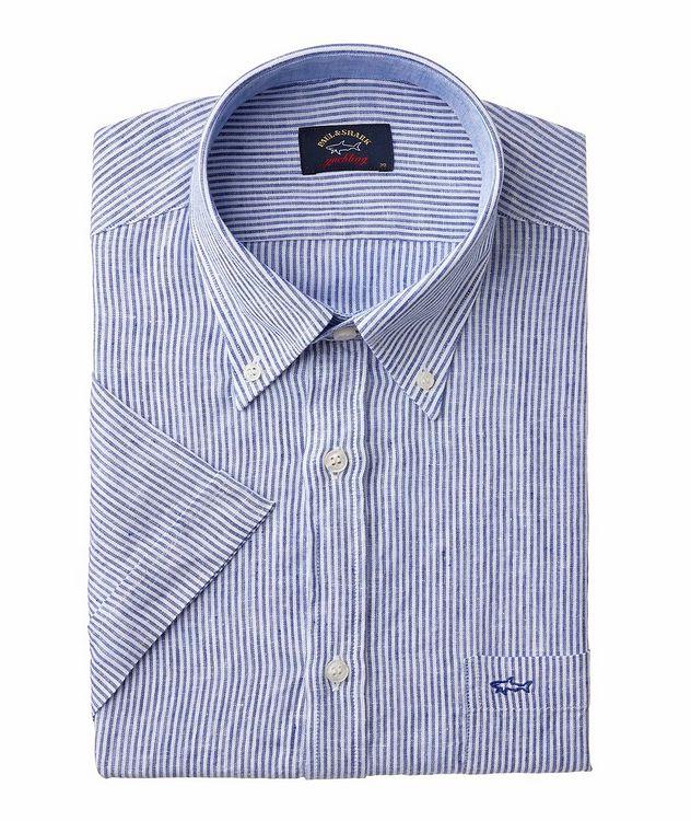 Chemise décontractée en lin à rayures et à manches courtes picture 1