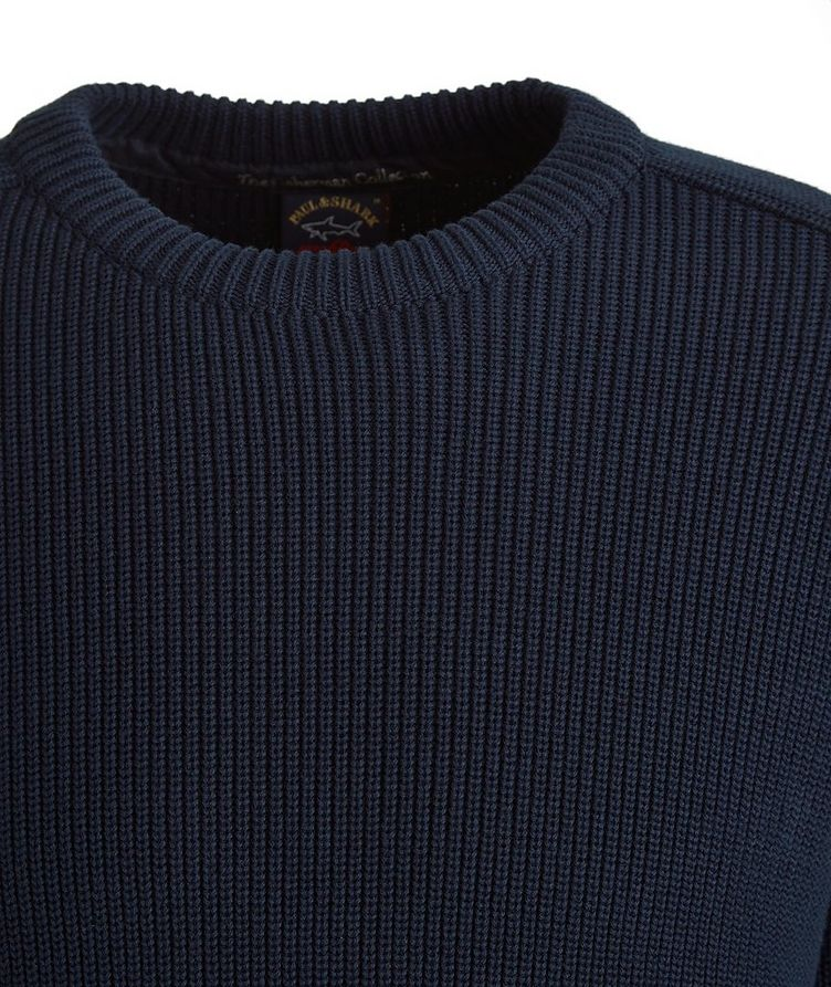 Ribbed Knit Cotton Fisherman's Sweater image 2