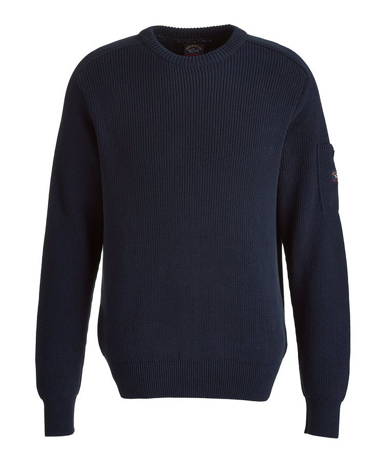 Ribbed Knit Cotton Fisherman's Sweater image 0